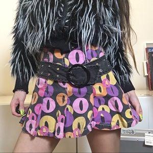 Dresses & Skirts - Vintage 70s disco mini pleated skirt with belt.